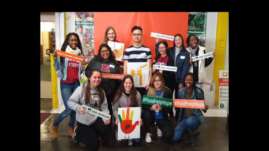 Group Picture of Members of Health Professional Club at Food Bank Volunteering