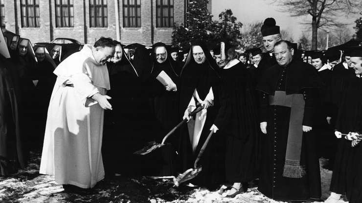 Sisters Of St Dominic Breaking the ground for the establishment of the Jennings Library