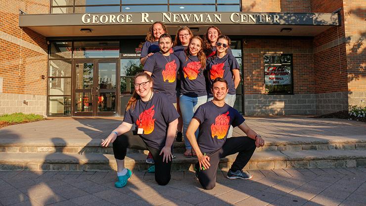 Group of student of caldwell university wearing same shirt