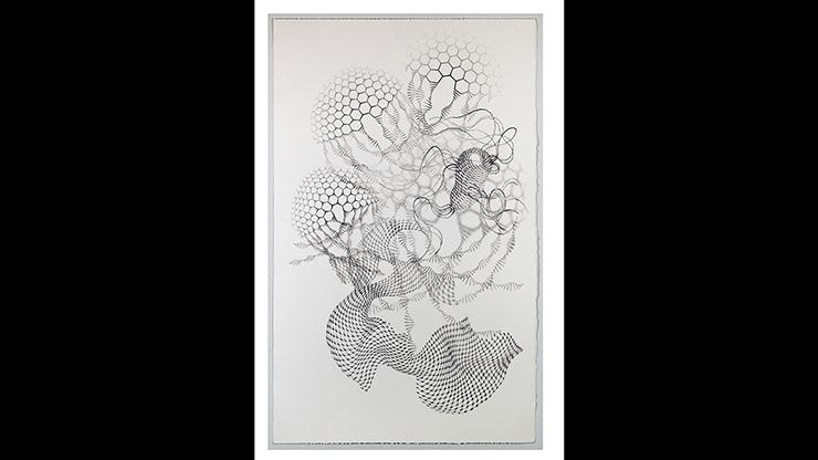 "Chris Arabadjis, Locomotion, 2012, ballpoint pen on paper, 34"" x 21"""