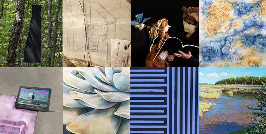Collage of art from the exibition