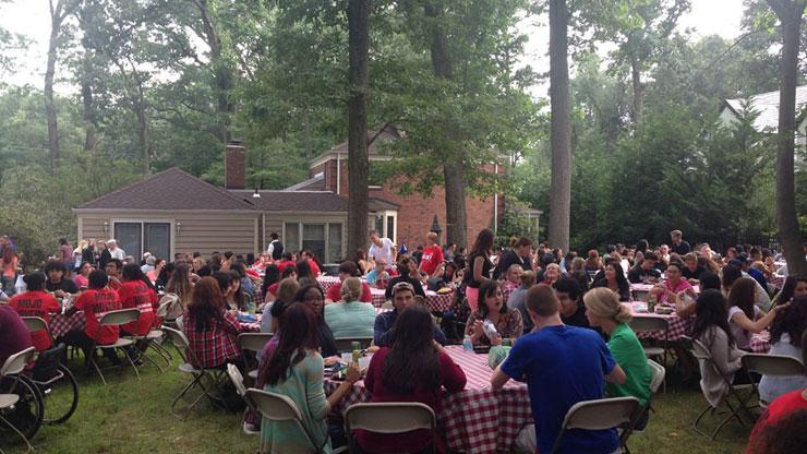 Freshmen Enjoying BBQ party at President Blattner's Residence
