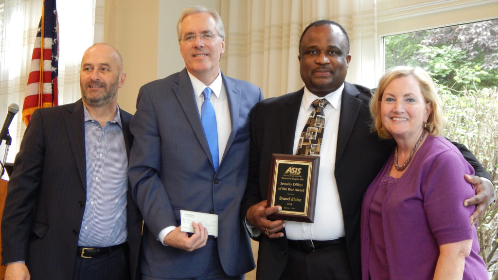 (Left to Right) Glenn Gates, Caldwell University's director of campus safety, Michael Stanzilis, general manager of G4S Security, Brunel Blaise, campus safety officer, and Sheila O'Rourke, Caldwell University's vice president for institutional effectiveness.