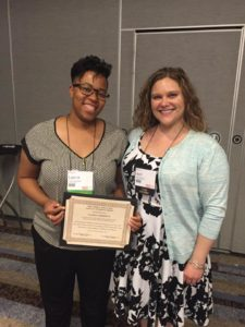 Doctoral student Lauren A. Goodwyn pictured with her advisor Dr. April Kisamore after the award ceremony.