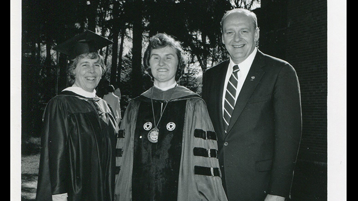 Sister Vivien Jennings, former president of Caldwell University, with other former faculty members.