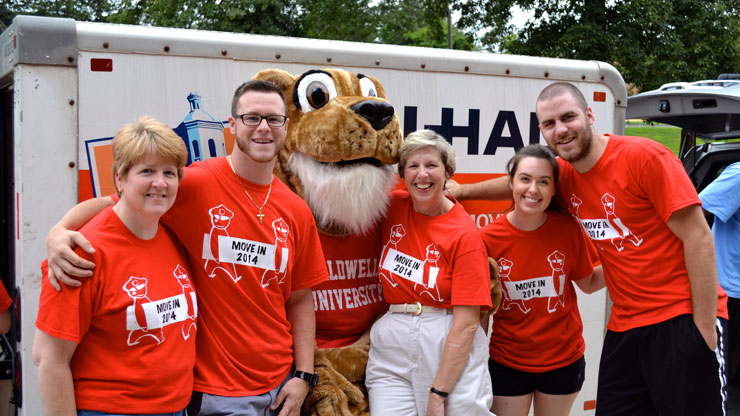 President Blattner with Caldwell Mascot and Newly Moved Freshmen