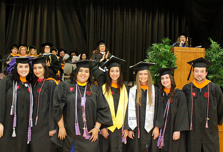 Caldwell University Nursing graduates posing for the photo during the graduation ceremony.
