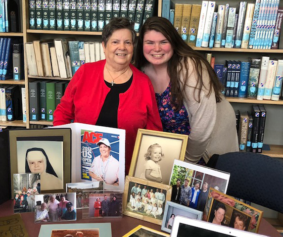 Caldwell University Student unveiling their final Sister Story Project at a reception May 7.