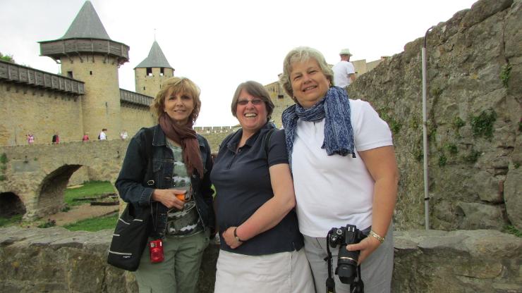 Gloria, Alison, Mary on Trip to Fanjeaux