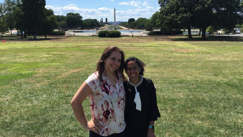 Caldwell University Guale and Yaskayra Gonzalez taking a photo outside Washington Monuments.