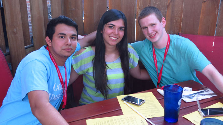 Students from Class of 2018 having lunch together at Local Restaurant