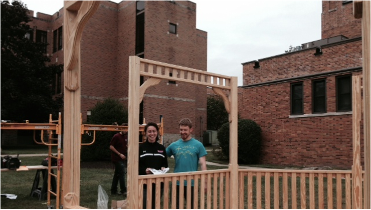 Jessica Marco, junior, and Patrick Lehosky '14 helping complete construction of the new gazebo