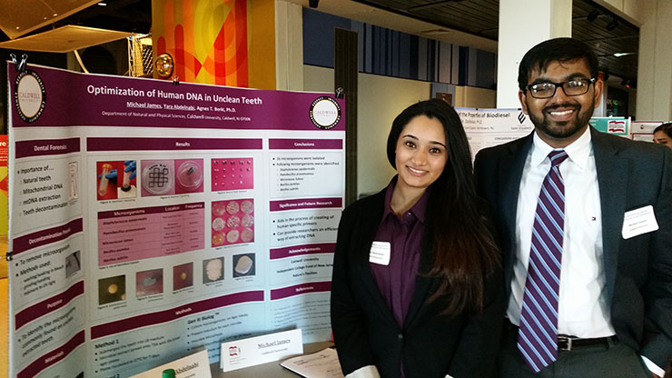 Science student presenting her research at ICFNJ Undergrad Research Symposium