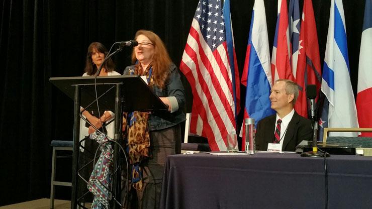 Caldwell University nursing professor Janet Chance-Hetzler DNP accepting the Lymphology Association of North America research award