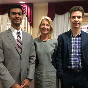 Students Shyam Sharma (L) and Joseph DiCarlo (R) have been interns at Tilcon New York, Inc., a supplier of quality stone and asphalt products. They are pictured here with Anne Poltorak '78, Tilcon Human Resources Manager and member of the Caldwell University Business Advisory Council.