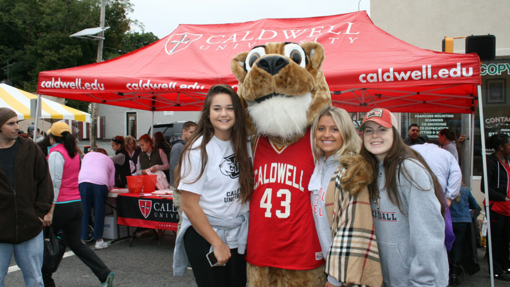 Caldwell University Students with CU mascot at Street Fair 2016