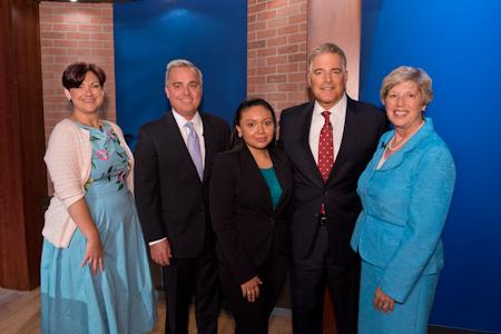 President Nancy Blattner with Steve Adubato and other panelists