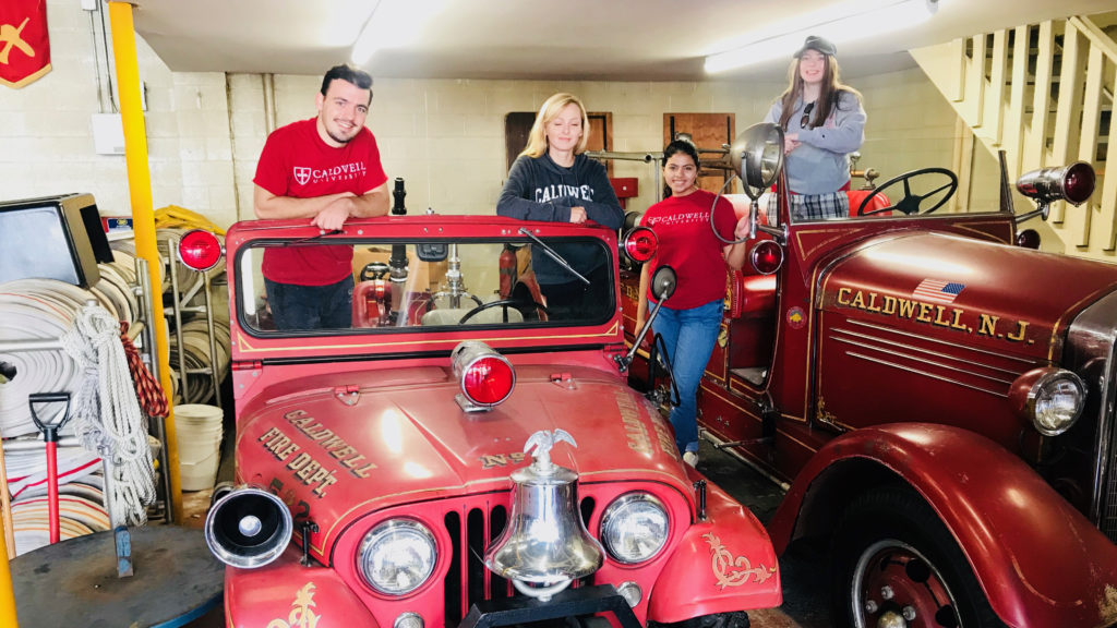 Caldwell Students volunteering in Caldwell Fire Department on Caldwell Day