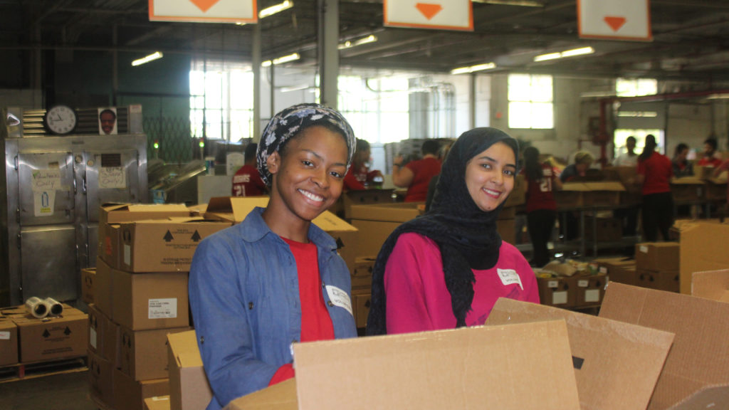 Caldwell Students volunteering in Food Bank on Caldwell Day