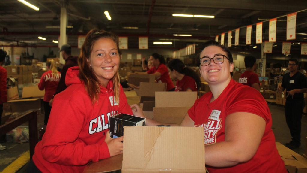 Caldwell Students volunteering in FoodBank