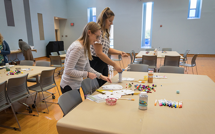 Art therapy students volunteering at Essex County Hospital Center