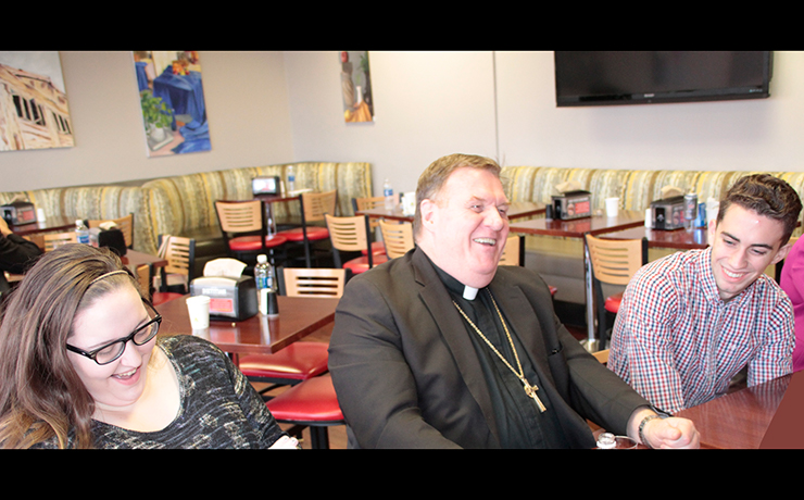 His Eminence Joseph William Cardinal Tobin, C.Ss.R., D.D., Archbishop of the Newark Archdiocese, interacting with the Caldwell University Students.