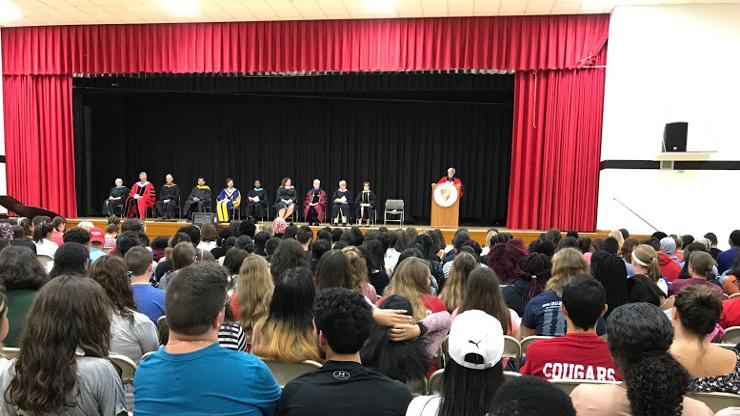 Caldwell University President, Nancy H. Blattner, delivering speech to Freshmans