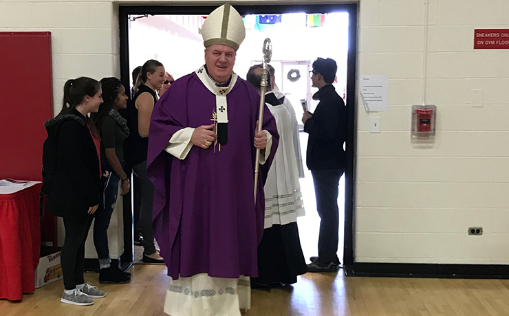 His Eminence Joseph William Cardinal Tobin, C.Ss.R., D.D., Archbishop of the Newark Archdiocese, welcomed by the Caldwell University community.