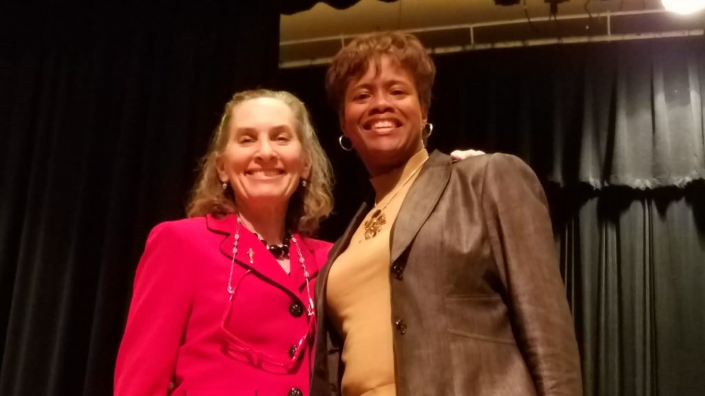 Caldwell University Chorale Director Dr. Laura Greenwald with composer Dr. Rosephanye Powell.
