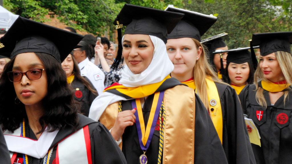 Students at Caldwell University's 76th Annual Commencement.
