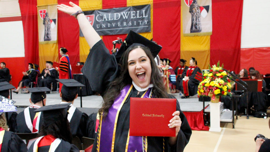 Student at Caldwell University's 76th Annual Commencement.