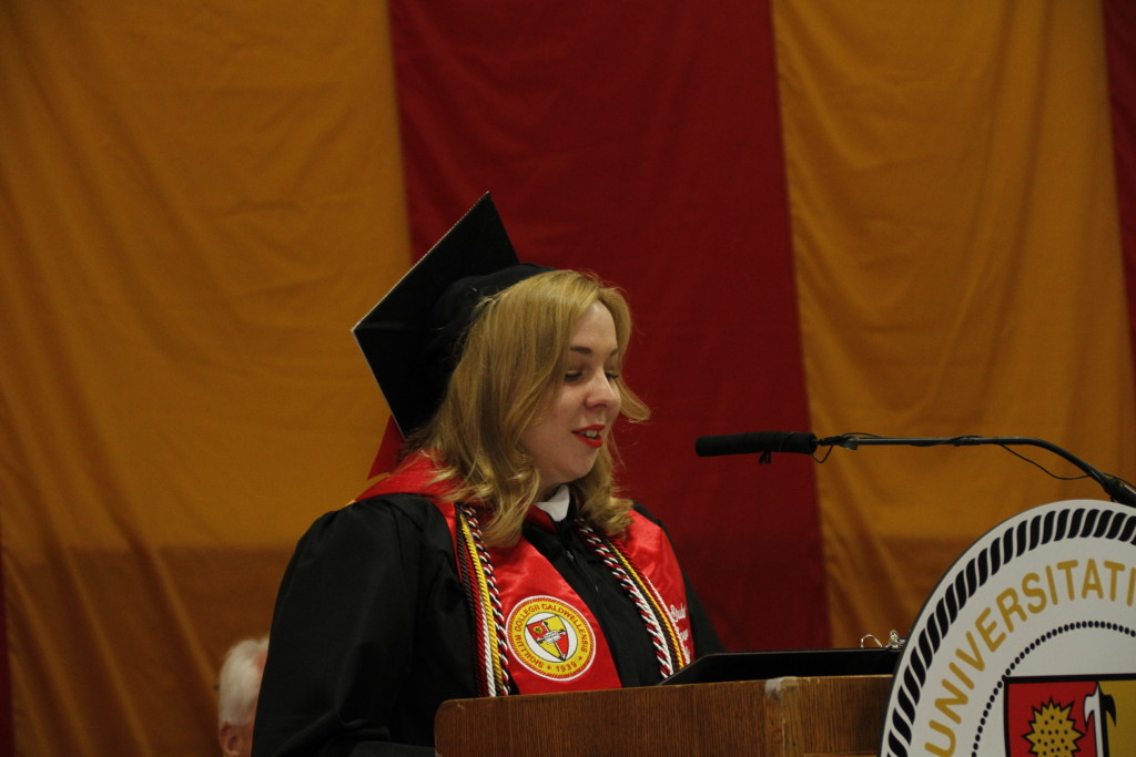 A Student delivers Commencement Speech