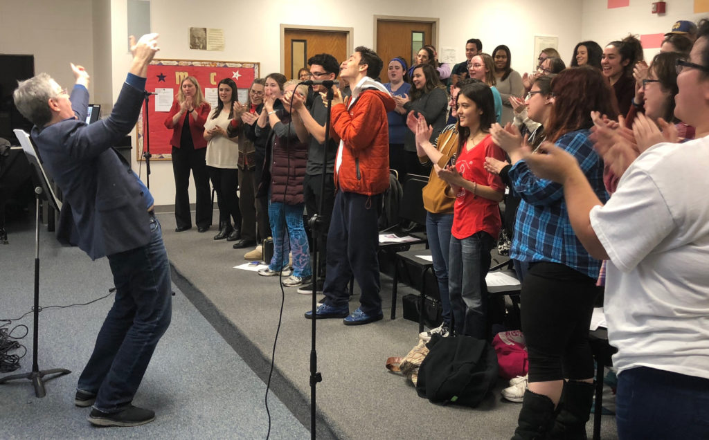 Caldwell University's Music Club recording a song for little Aubrey Brooks through the Songs of Love Foundation, a national nonprofit organization.