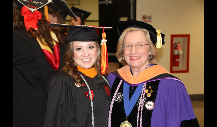 Nursing student at Annual Convocation and Professional Pinning Ceremony