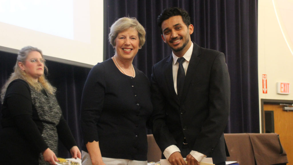 Dr. Blattner with Yashant Bikram Gyawali at the honor society Phi Kappa Phi inductee program