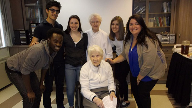 Caldwell students and Sisters of St. Dominic in St. Catherine's Convent and Health Care Facility