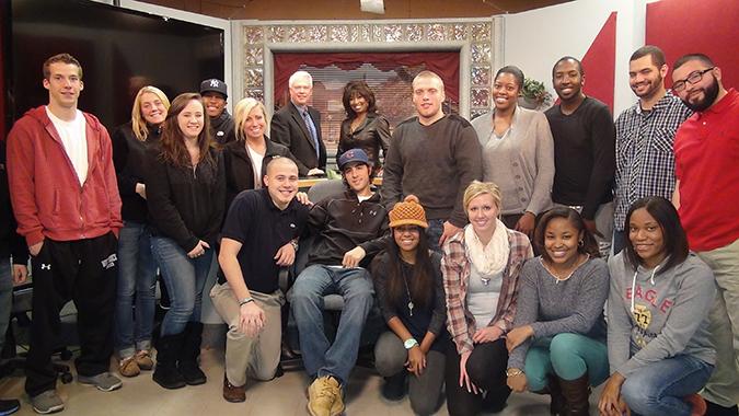 My9 News Anchor Brenda Blackmon with Caldwell University Communication Arts Students