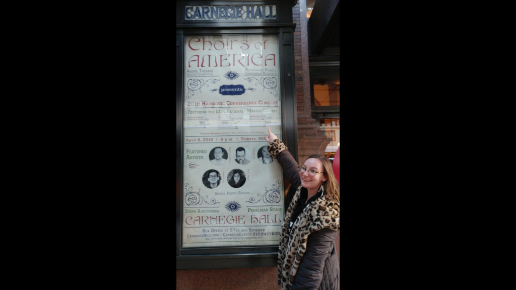 CU Chorale student performer Harmonic Convergence Concert at Carnegie Hall