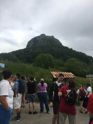 Visitors at Medieval French hilltop