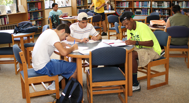 Caldwell Students Studying in the Library