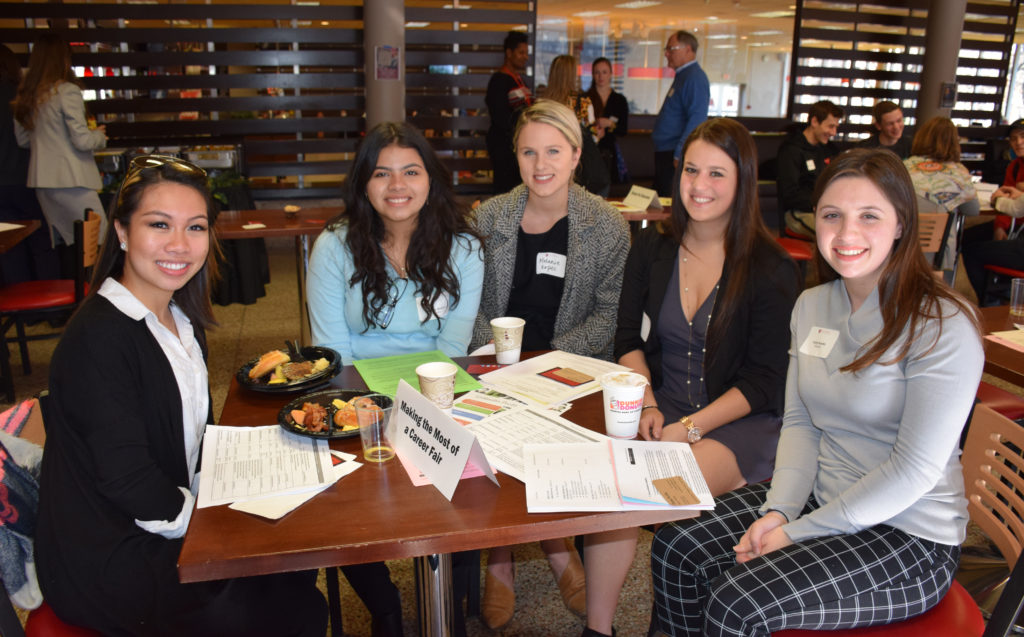 Caldwell University, School of Business and CIS, student's  getting prepared for the career fair.