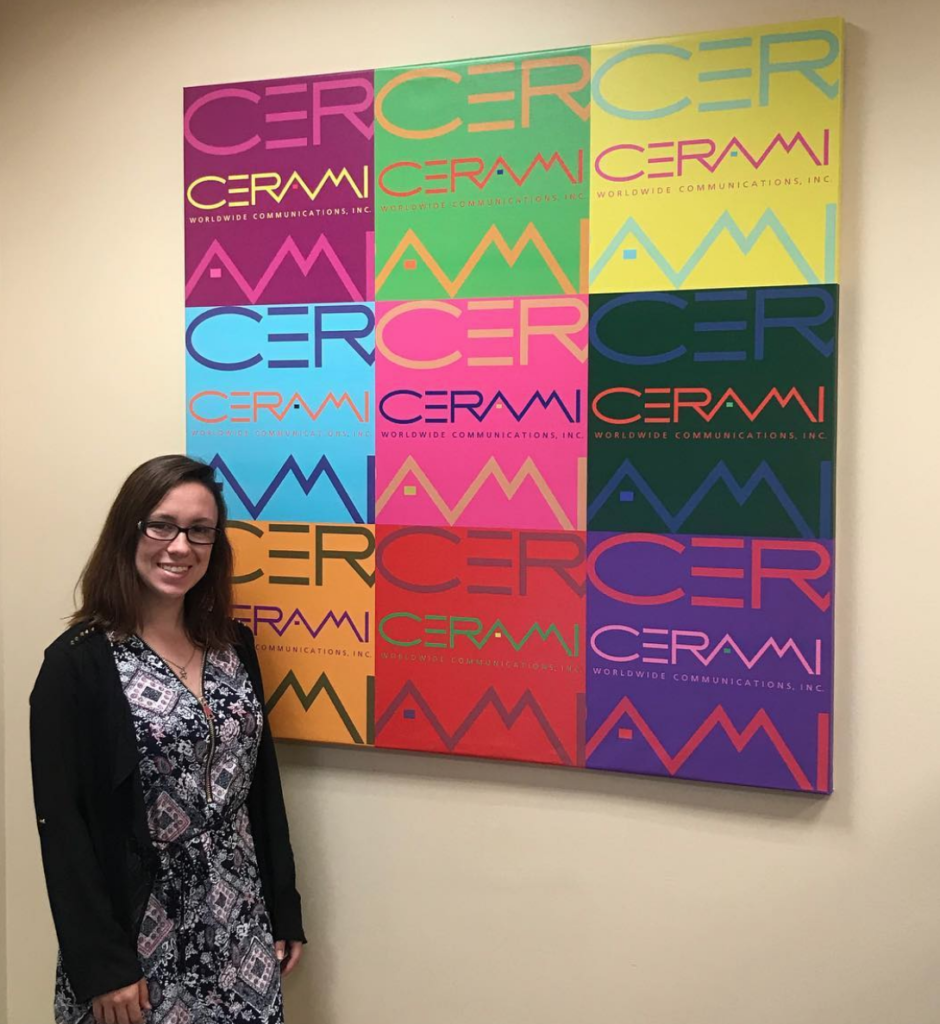 Christina Campos in her workplace