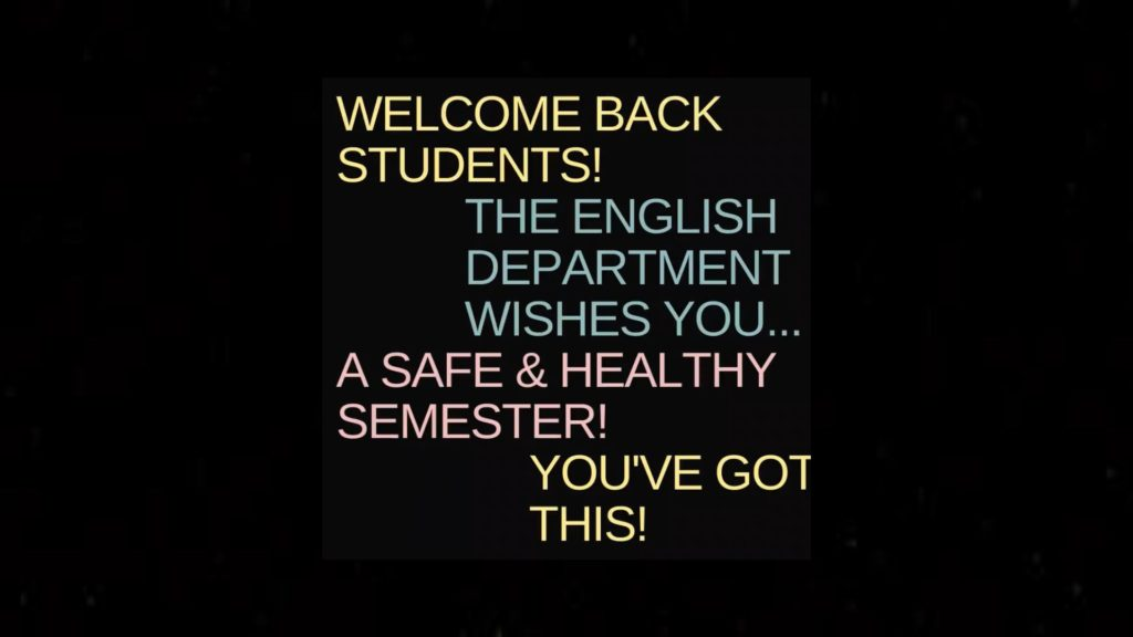 English Department Welcome back students