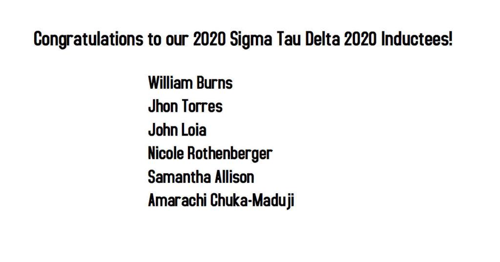 English Department congratulating Sigma tau delta