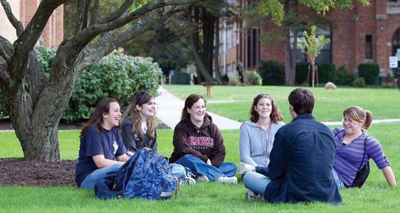 Six Caldwell students relax between classes.