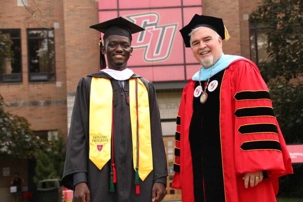 An image of Keith and Dr. Whelan at the graduation